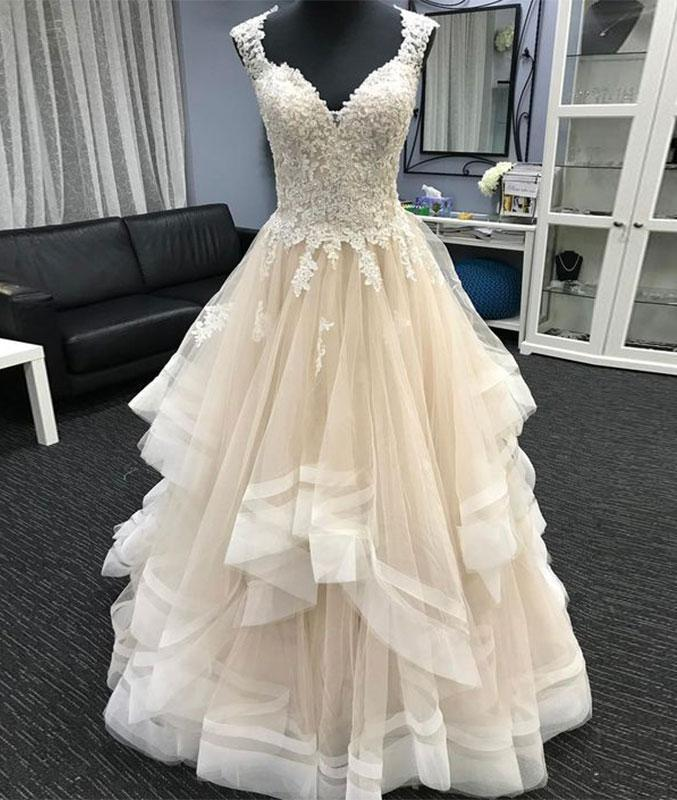 A-line Long Tulle Wedding Dress Cap Sleeves Women Bridal Gowns