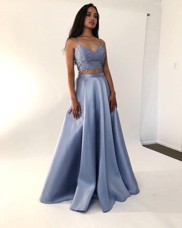 Two Pieces Satin Prom Dresses Long elegantes de gala A Line Lace Special