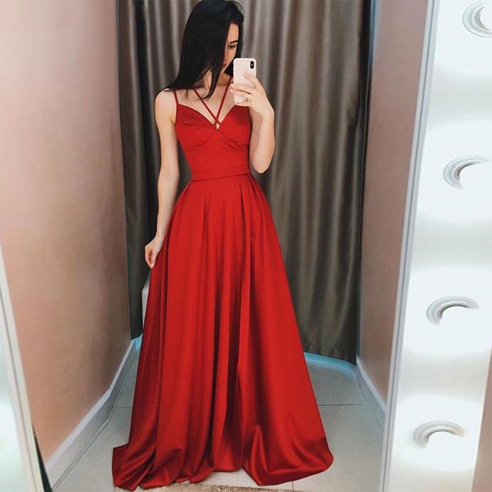 Spaghetti Straps Prom Dresses Sleeveless Elegant Long A-line Formal Celebrity