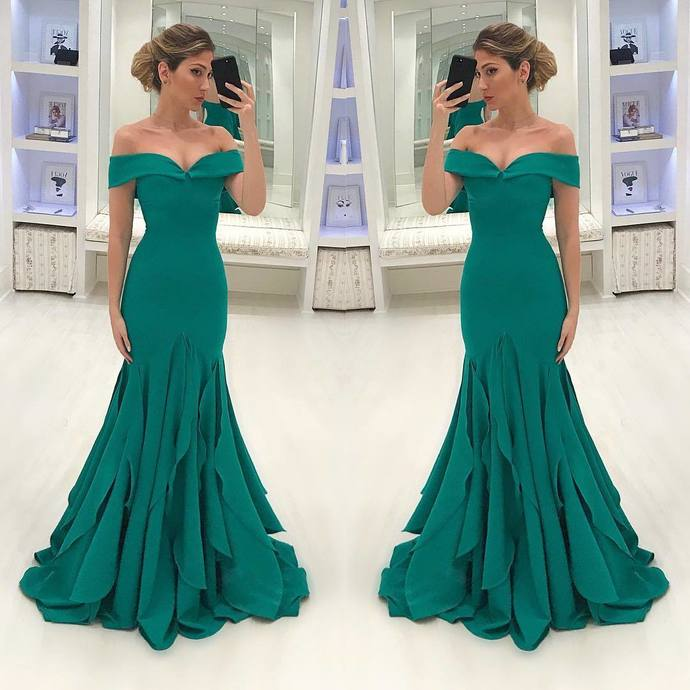 Off the Shoulder Prom Dresses Aqua Azul Sereia Vestidos de Baile Festa Mermaid