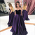 Satin Dark Purple Prom Dresses with Pockets Sweetheart Sexy Robe De Party