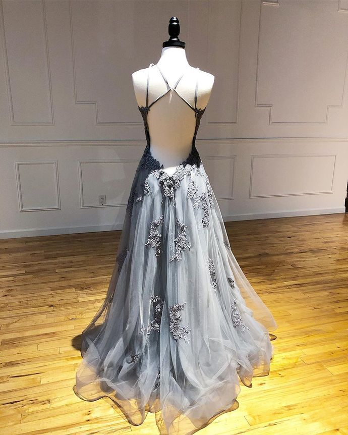 Double Straps A Line Tulle Prom Dresses Backless Lace Appliques Evening Dresses