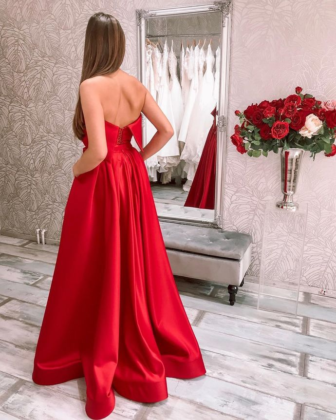 Red Satin Evening Dresses Strapless A-Line Formal Party Gowns with Slit Pockets