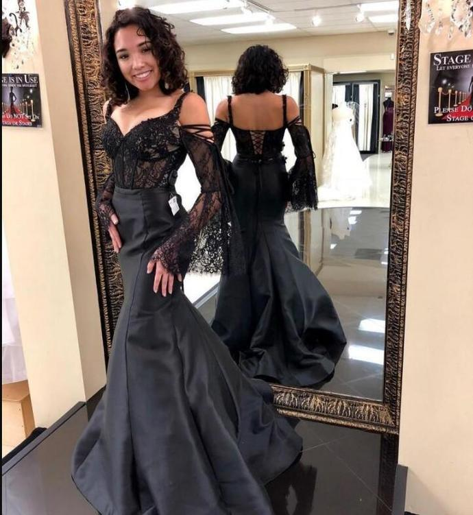 Spaghetti Straps Mermaid Long Satin Prom Dress Floor Length Women Evening Dress
