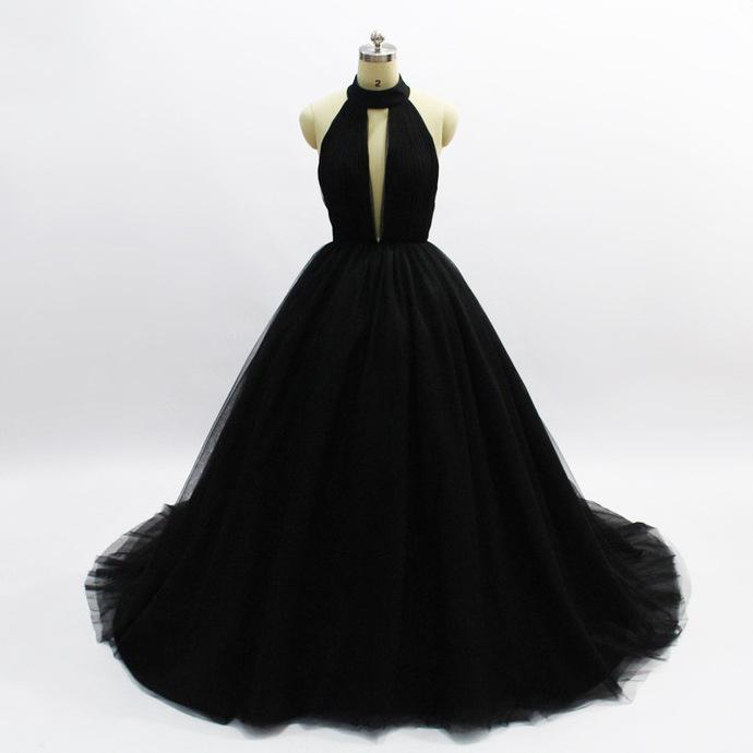 Halter Neck A-line Black Tulle Prom Dress Floor Length Women Evening Dress