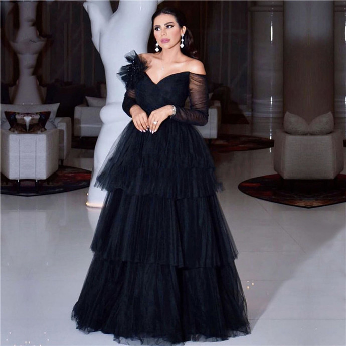 Black Off Shoulder Illusion Party Dress Tiered Long Sleeves Sexy Prom Dresses
