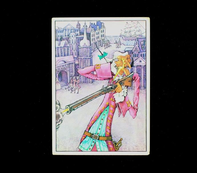vintage postcard, Baron Munchausen