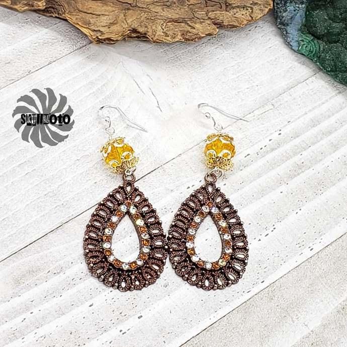 Orange Crystal Filigree Earrings with Rhinestones