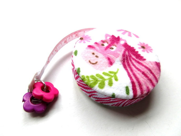 Tape Measure Pink Hippo and Zebra Small Retractable Measuring Tape