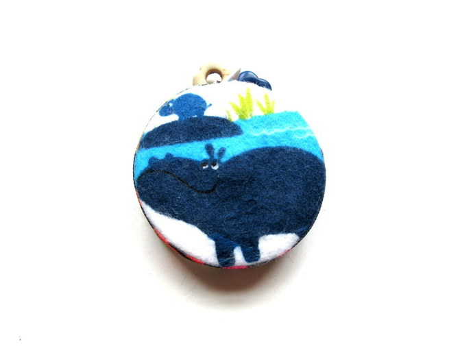 Tape Measure Blue Hippos and Baby Small Retractable Measuring Tape