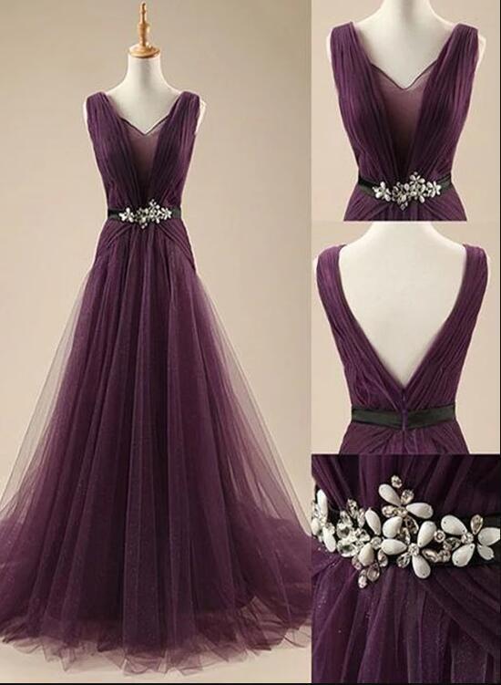 Purple Tulle Long Party Dress 2020, A-line Floor Length Beaded Formal Dress