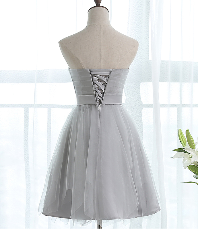 Lovely Grey Short Sweetheart Tulle Party Dress, Grey Homecoming Dress