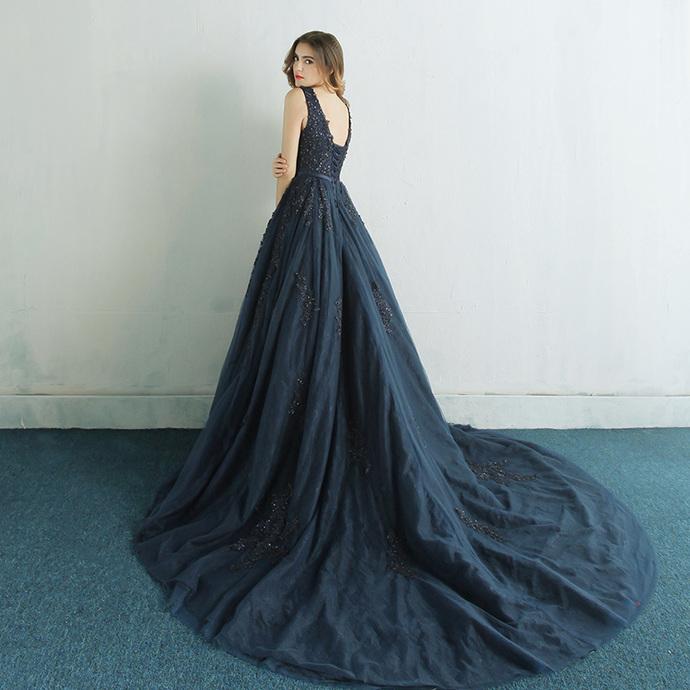 Navy Blue Tulle Backless Long Prom Dress, V-neckline Party Dress
