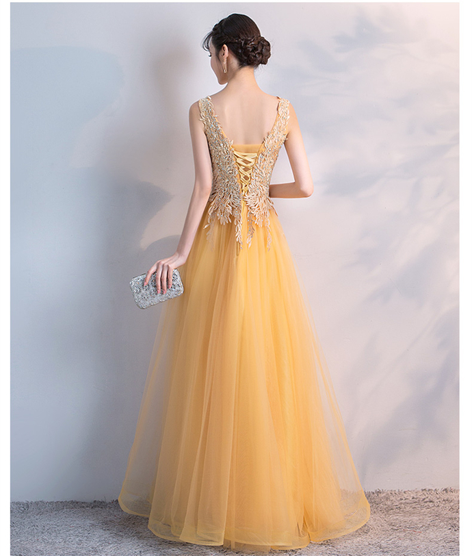 Charming Tulle Yellow Lace Applique Party Dress, New Prom Dress 2020