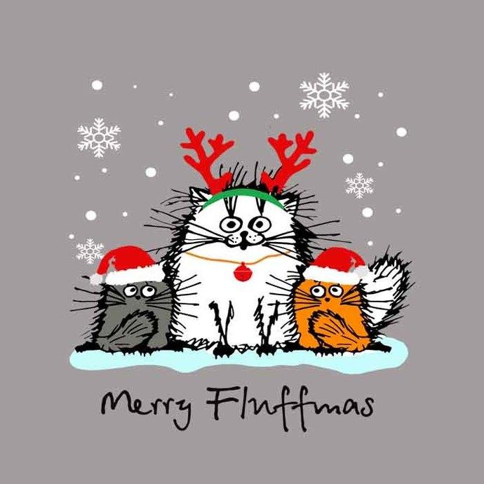 Christmas Cute Santa Cat Apparel Merry Fluffmas With Antlers Santa Claus