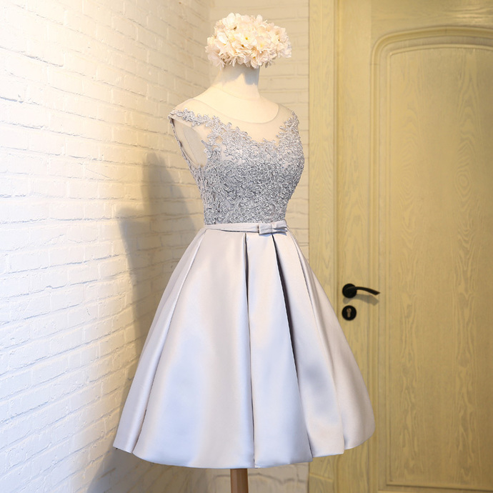 Adorable Grey Satin Knee Length Party Dress 2020, Short Prom Dress 2020