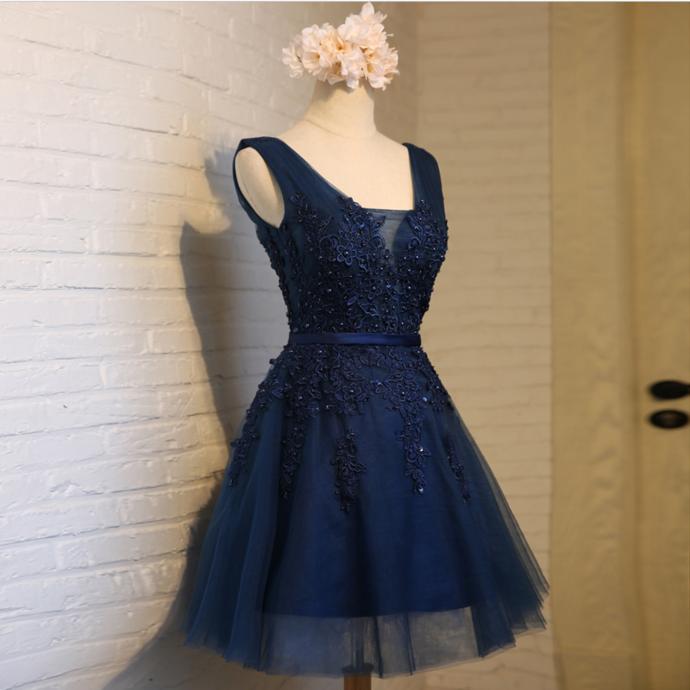 Cute Navy Blue Short Party Dress, Lace Applique Prom Dress