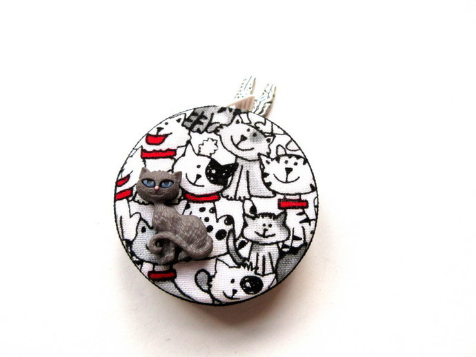 Tape Measure Black and White Cats Small Retractable Measuring Tape