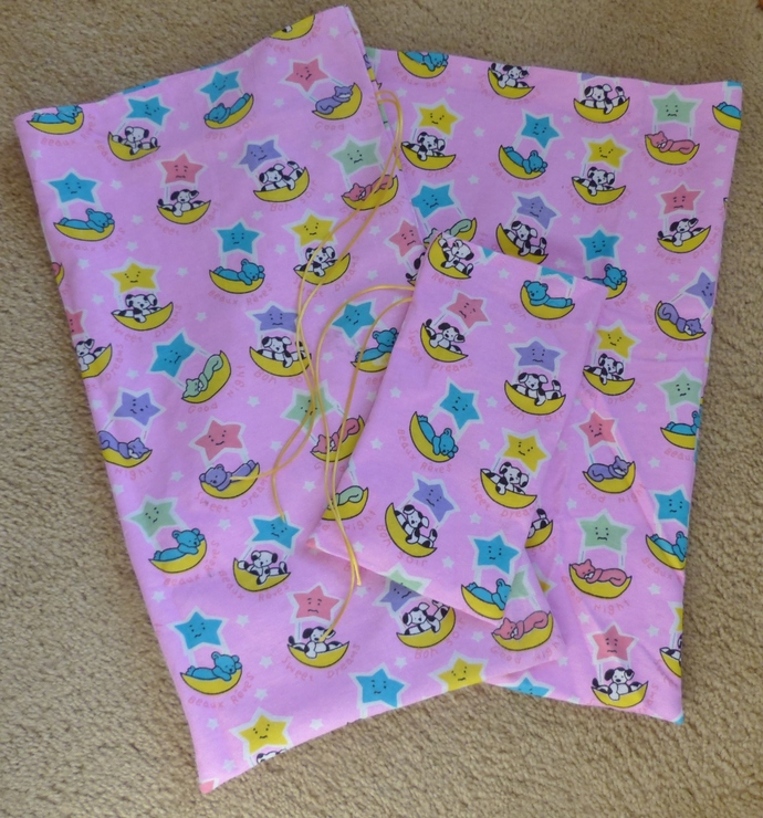 fabric gift bags, flannel gift bags, gift bags for toddler, gift bags for baby,