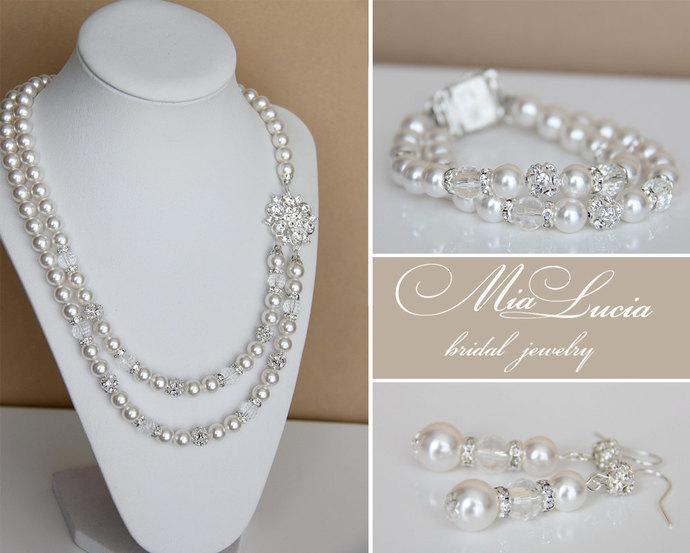 Bridal Jewelry Set, Swarovski Pearl Bridal Jewelry Set, White Pearl Necklace