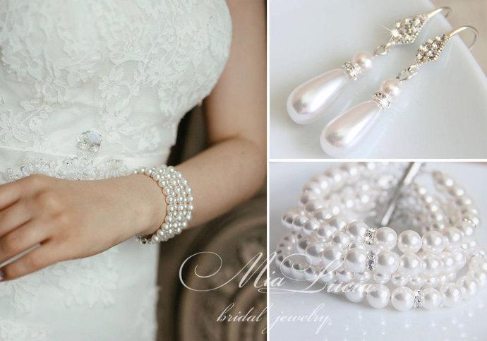 Bridal Jewelry Set, White Swarovski Pearl Bridal Jewelry Set, Pearl Earrings
