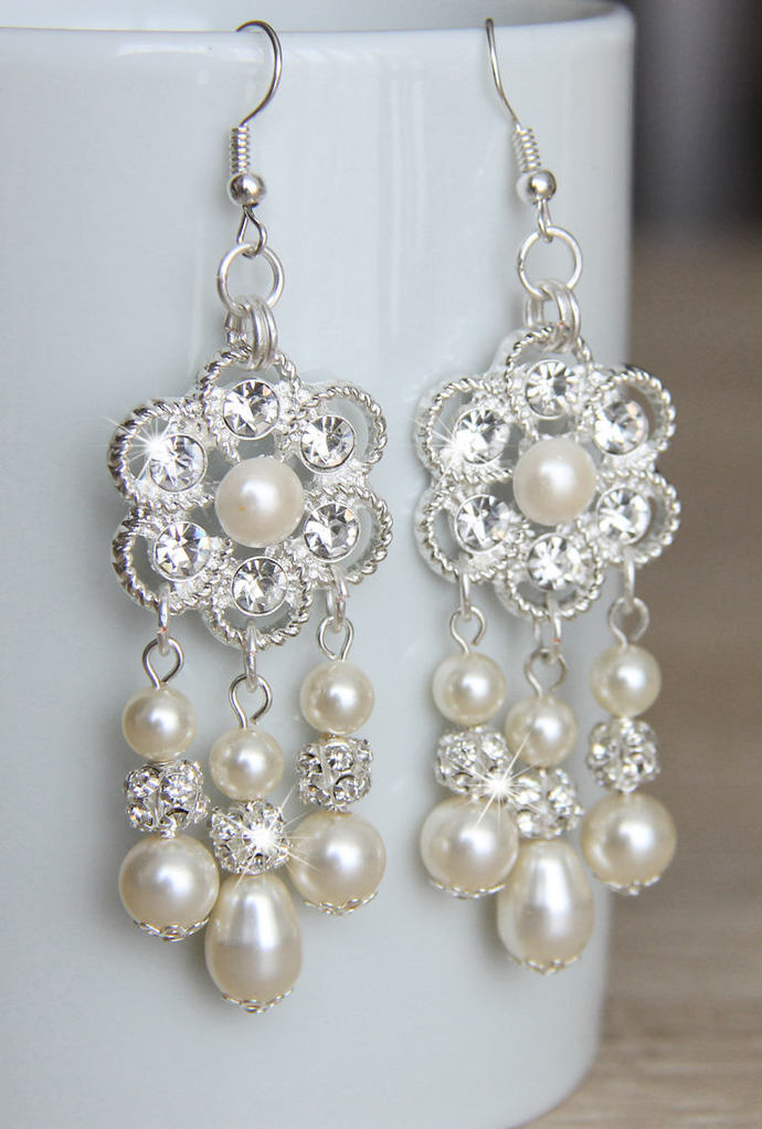 Bridal Jewelry Earrings, Bridal Earrings, Long Pearl Earrings, Wedding Earrings