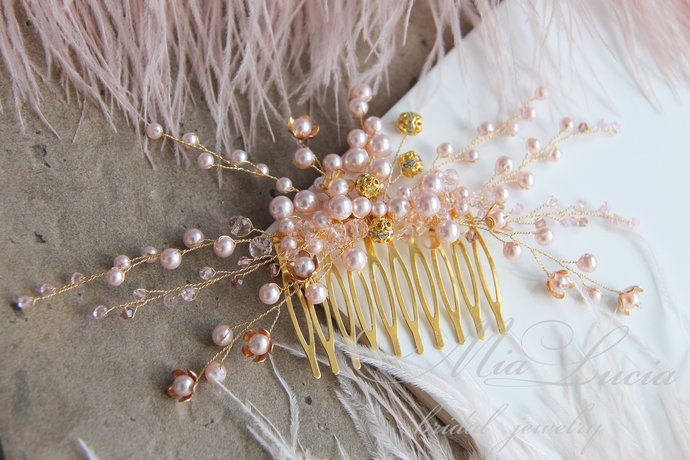 Blush Pink and Gold hair comb for bride, Bridal hair piece Rose and Gold h05