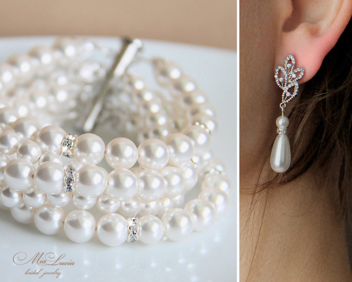 Pearl bracelet and earrings set, wedding jewelry for brides, bracelet set with