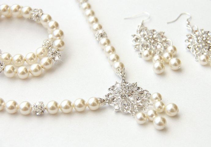 Bridal Jewelry Set, Ivory Swarovski Pearl Bridal Jewelry Set, Pearl Necklace