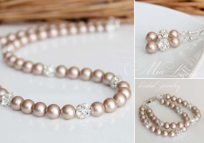 Wedding Jewelry Set, Champagne Pearl Bridal Jewelry Set, Taupe Jewelry Pearl