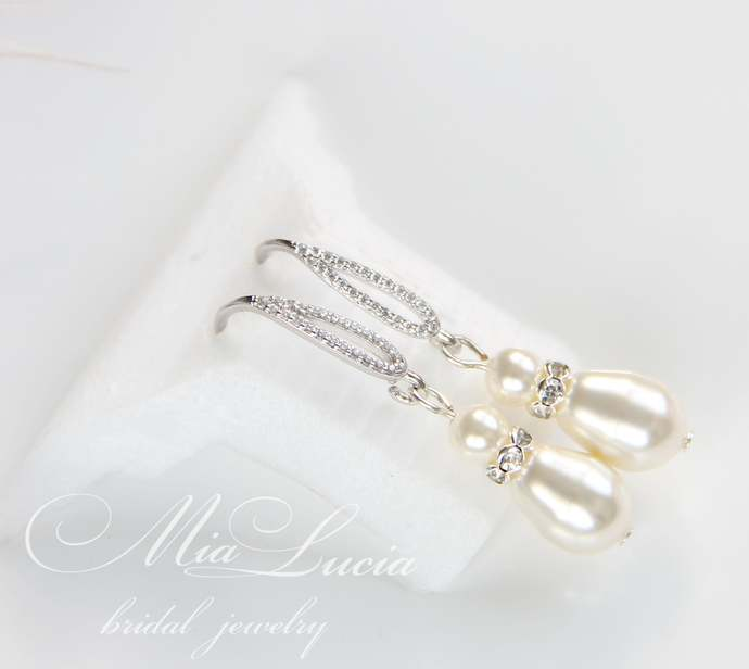 Pearl bridal earrings, teardrop pearl earrings, pearl dangle earrings, swarovski