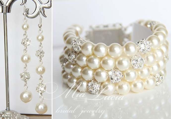 Bridal Jewelry Bracelet and Earrings Set, Ivory Pearl Bracelet and Pearl Earring