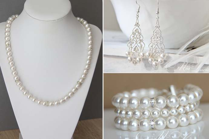 Wedding Pearl Jewelry Set for bride / Pearl necklace, wide bracelet and silver