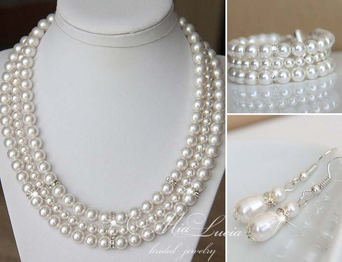 Statement necklace set with teardrop earrings and pearl cuff bracelet - Pearl
