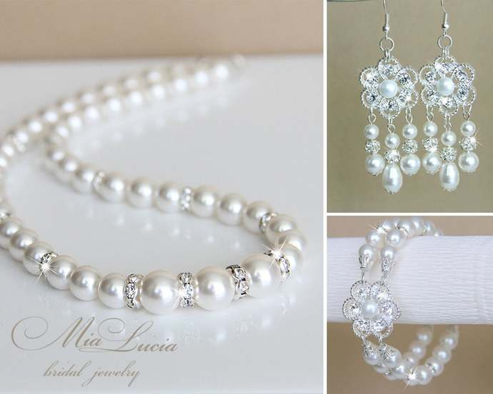 Bridal Jewelry Set, Swarovski White Pearl Bridal Jewelry Set, Necklace Earrings