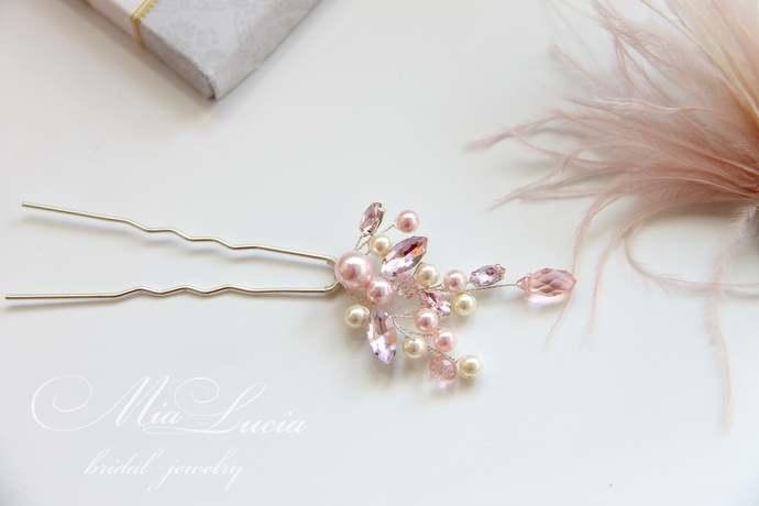 Pink and Ivory Bridal Hair Pin, Pearl Crystal Wedding Hair Pin, Blush Pink Hair