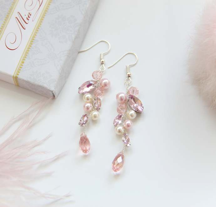 Pink and Ivory Wedding Earrings, Pearl Blush Earrings for brides, Long bridal
