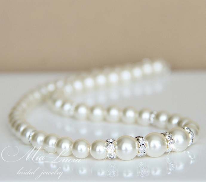 Pearl Bridal Necklace, Wedding Necklace, Pearl Bridesmaid Necklace, Ivory Pearl