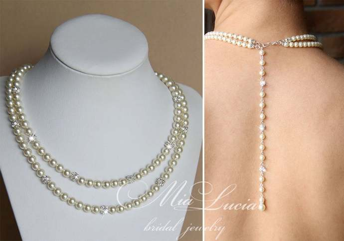 Back necklace jewelry, pearl back necklace, wedding backdrop necklace, bridal