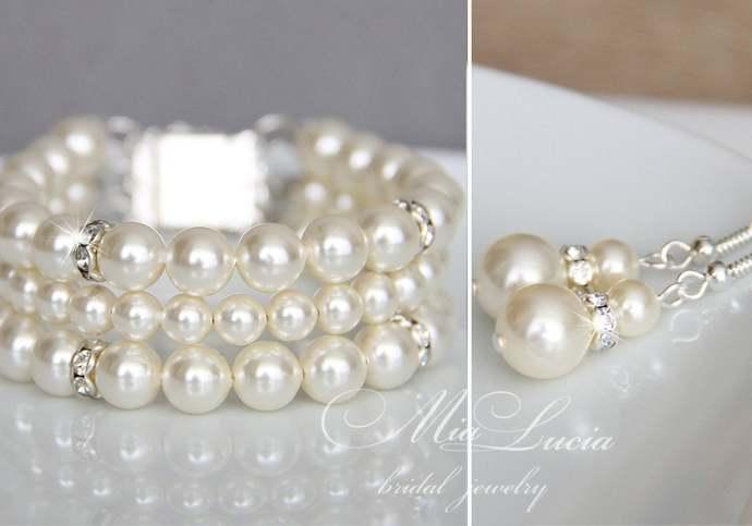 Wedding Jewelry Set, Swarovski Pearl Bridal Jewelry Set, Pearl Necklace Earrings