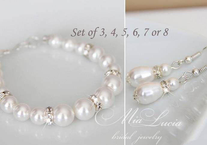 Bridesmaid Bracelet Earrings set of 3, 4, 5, 6, 7 or 8 Bridesmaid Gift set,