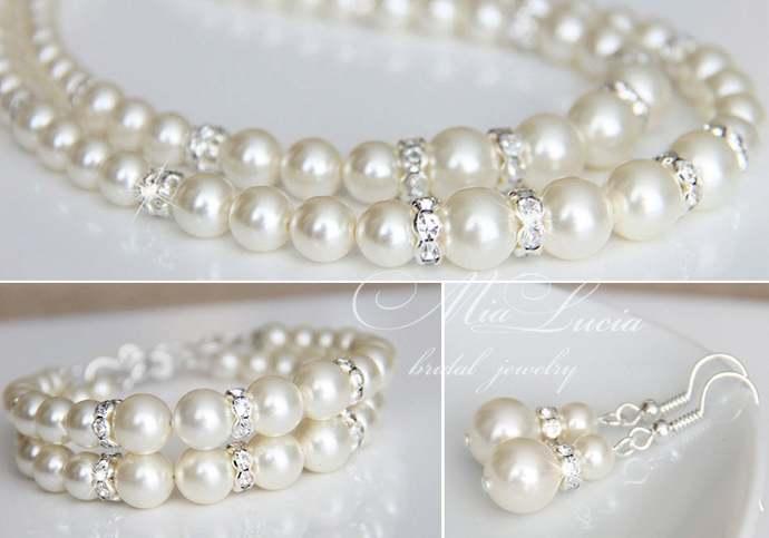 Wedding Jewelry for Brides, Pearl Wedding Jewelry set, Bridal Jewelry pearl set,