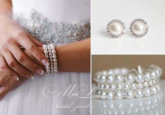 Wedding Jewelry Set Bracelet Clip On Stud Earrings, Pearl Bridal Jewelry