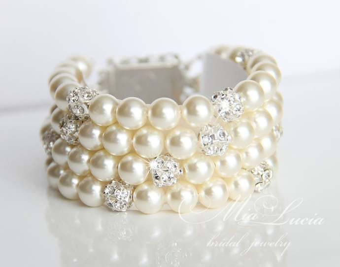 Classic Bridal Pearl Cuff Bracelet, Ivory Pearls and Crystal, b07