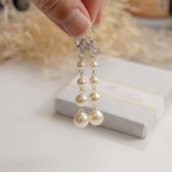 Long Pearl Earrings, Round Pearl drop Bridal Earrings, Wedding pearl earrings