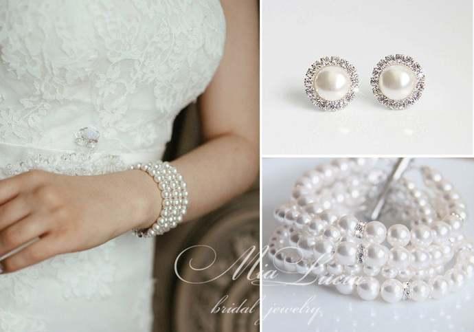 Bridal Jewelry Set Bracelet Clip On Stud Earrings, Pearl Bridal Jewelry Bracelet