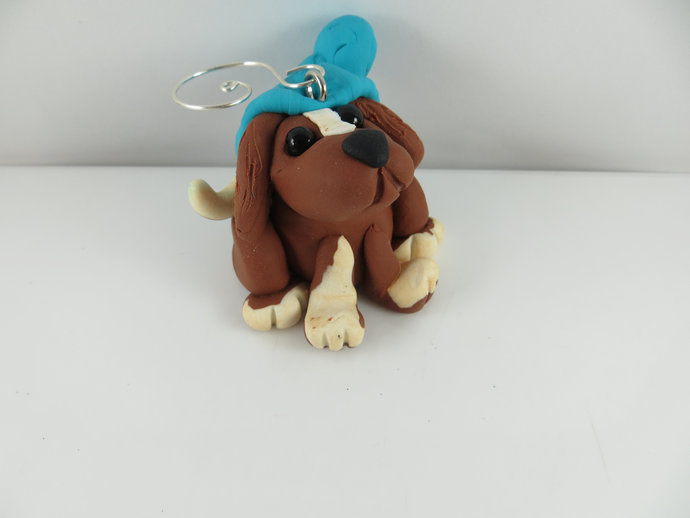 Puppy in a slouchy hat Christmas ornament