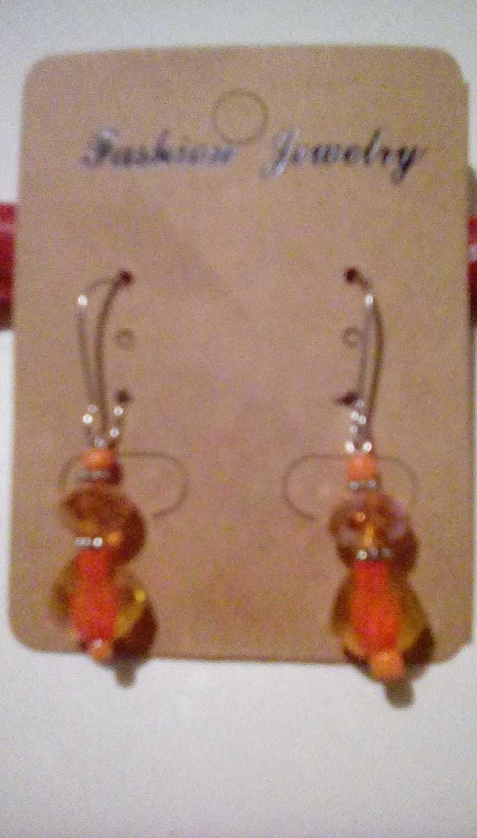 Fantasy Orange Drop Earrings, Handmade Jewelry, Beautiful, Dangle, Drops,