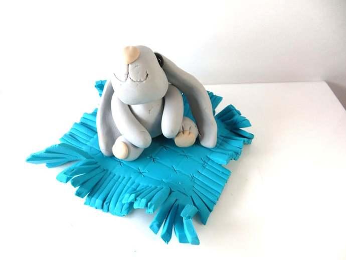 Clay bunny caketopper decoration keepsake