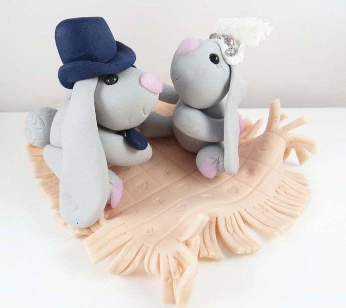 Bride and groom clay bunny cake topper decoration keepsake